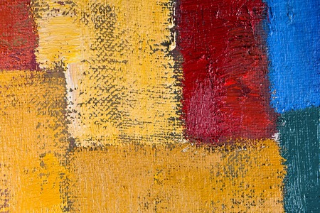 abstract wallpaper, texture, background of an original oil yellow, red and blue painting on canvas with brush strokes. Фото со стока - 40975057