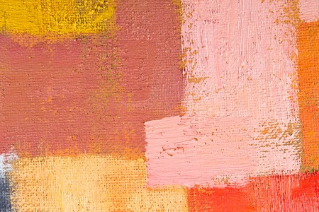 red pink: abstract wallpaper, texture, background of an original oil red, pink and beige painting on canvas with brush strokes. Stock Photo