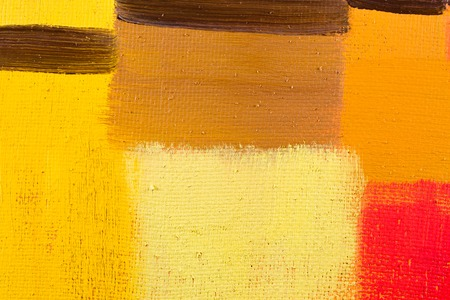 abstract wallpaper, texture, background of an original oil yellow, red and brown painting on canvas with brush strokes.