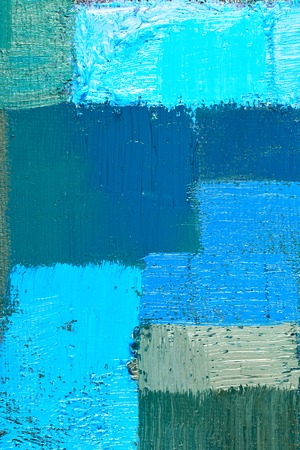 abstract background of an original oil painting in cool colors on canvas with brush strokes texture. Imagens