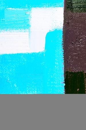 fineart: abstract background of an original oil painting in cool colors on canvas with brush strokes texture. Stock Photo