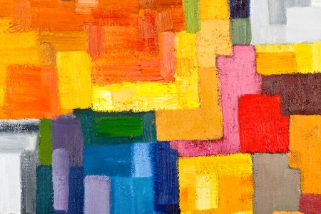 modern painting: abstract texture background of an original oil geometric painting close-up fragment on canvas with brush strokes.