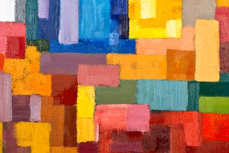 abstract texture background of an original oil geometric painting close-up fragment on canvas with brush strokes.