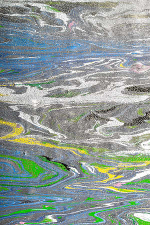 multilayer: Closeup view of an original painting. Multicolored texture with space for text or image. Fragment of artwork, modern art, contemporary art. Mixed media. Avant-garde art. Stains, spray paint.