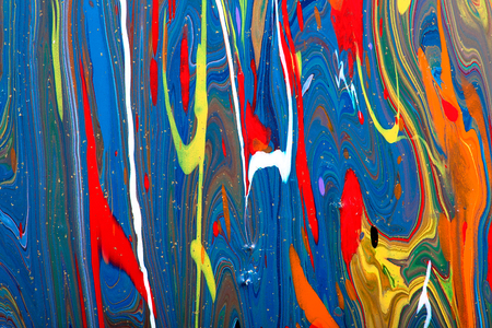 Closeup view of an original painting. Abstract dark grunge background.  Multicolored texture with space for text or image. Fragment of artwork, modern art, contemporary art. Stains, spray paint. Фото со стока