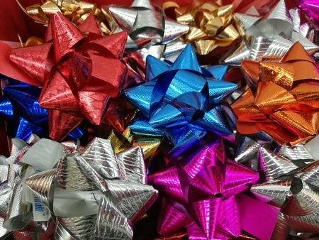 boxing day: Celebration the boxing day with closed up  variety colorful ribbon collection for gift Stock Photo