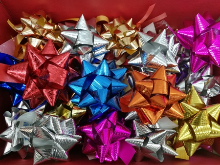 boxing day: Celebration the boxing day with variety colorful ribbon collection for gift