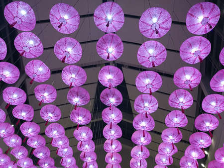 pink lantern hanging from ceiling, lantern festival background, Chinese New Year, moon festival