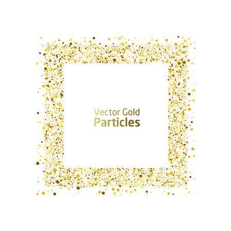 Vector eps 10 golden particles. Glowing abstract gold particle in square shape. Gold square luxury background.