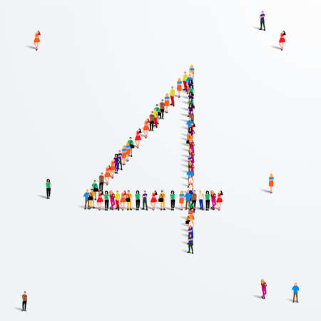 Large group of people in number 4 four form. Vector illustration