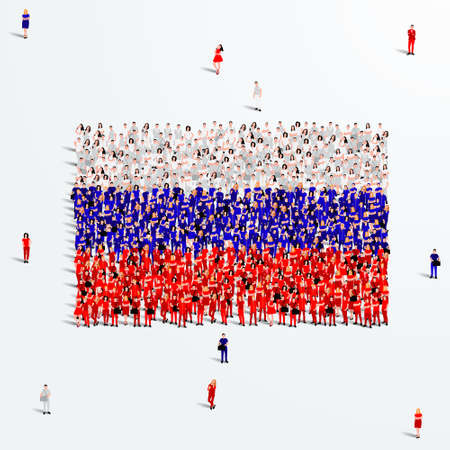 Russia Flag. A large group of people form to create a shape of the Russian flag. Vector Illustration.
