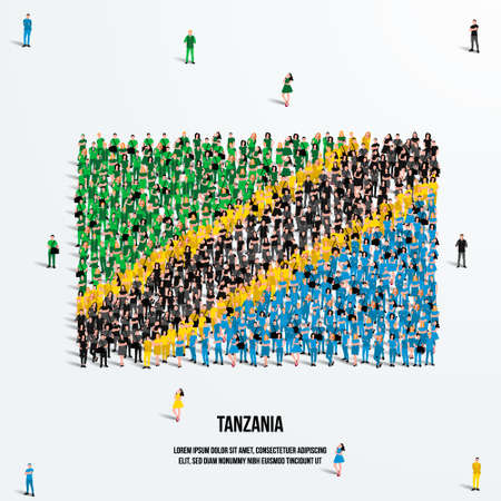 Tanzania Flag. A large group of people form to create the shape of the Tanzanian flag. Vector Illustration.