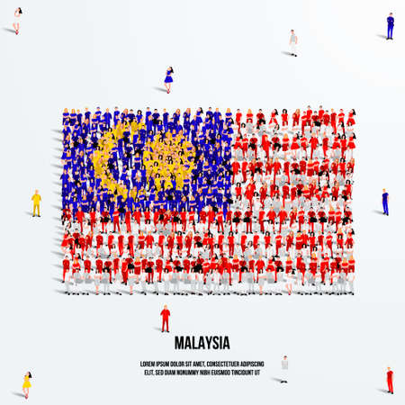 Malaysia Flag. A large group of people form to create the shape of the Malaysian flag. Vector Illustration.