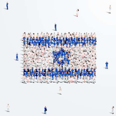Israel Flag. A large group of people form to create the shape of the Israeli flag. Vector Illustration. Vektoros illusztráció