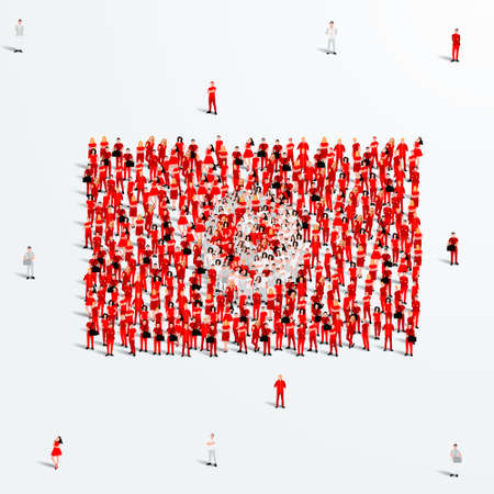 Tunisia Flag. A large group of people form to create the shape of the Tunisian flag. Vector Illustration.