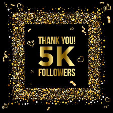 Thank you 5k or five thousand followers peoples, online social group, happy banner celebrate, gold and black design. Vector illustration