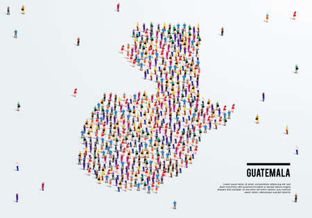 Guatemala Map. Large group of people form to create a shape of the Guatemala Map. vector illustration.