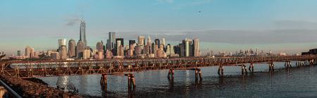 hudson: Panorama shot of Ellis Island bridge over Hudson river