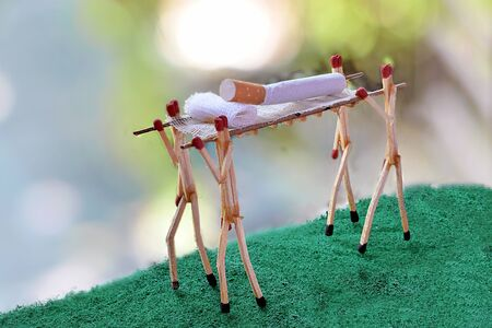 Creative Photography of Stop Smokingusing Matches Stick