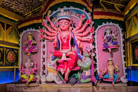 Durga Puja, also called Durgotsava, is an annual Hindu festival in the Indian subcontinent that reveres the goddess Durga decorated kumortuli, Kolkata, India