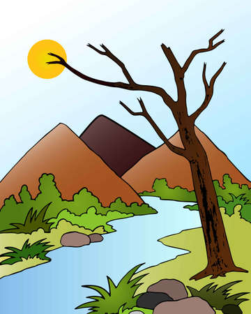 Graphical presentation of Beautiful valley landscape, a Clean and fresh river flowing down from the mountains through a thick forest. Vector flat style