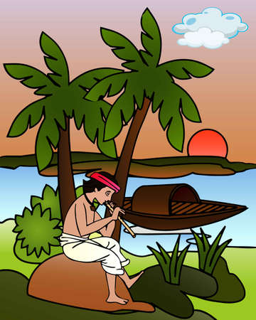 Graphical presentation of a boy playing the flute beside a river in the evening. Vector Cartoon Illustration