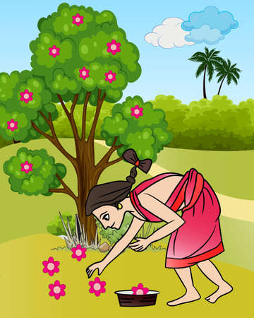 Graphical presentation of Beautiful young Indian woman in saree collecting flowers on a grass field for a festival. Vector flat style Illustration