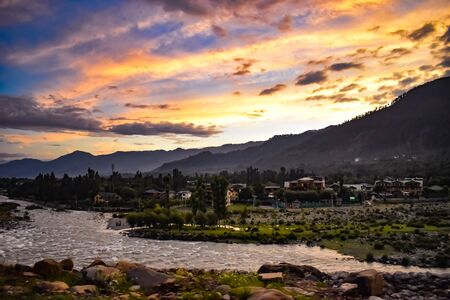 Beautiful sunset with a beautiful view of river Lidder at Pahalgam Kashmir,India. 写真素材 - 143706709