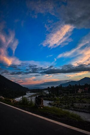 Beautiful sunset with a beautiful view of river Lidder at Pahalgam Kashmir,India. 写真素材 - 143707712