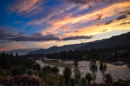 Beautiful sunset with a beautiful view of river Lidder at Pahalgam Kashmir,India. 写真素材 - 143709180