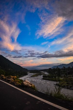 Beautiful sunset with a beautiful view of river Lidder at Pahalgam Kashmir,India. 写真素材 - 143709219