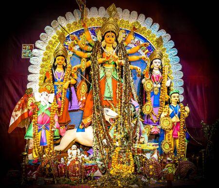 Maa Durga image captured during durga puja festival Stock Photo
