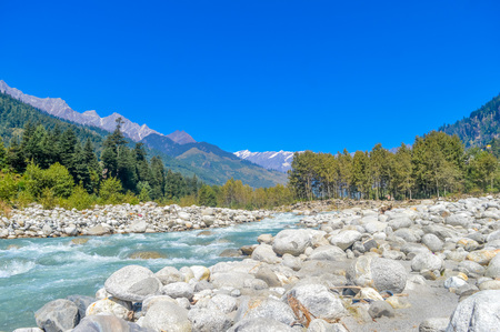 Beautiful landscape panorama view Himalayan valley of