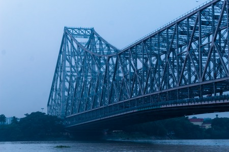 View of historic Second Howrah Bridge on Hooghly river Kolkata India Stock Photo