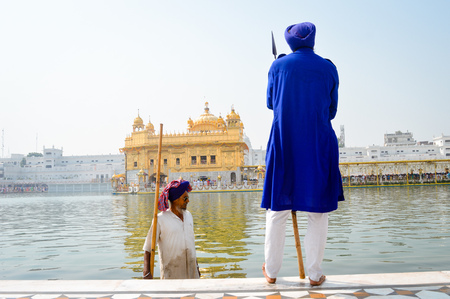Amritsar, India - MAY 16 2016: Unidentified Guard standing and looking around near