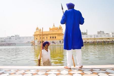 Amritsar, India - MAY 16: Unidentified Guard standing and looking around near