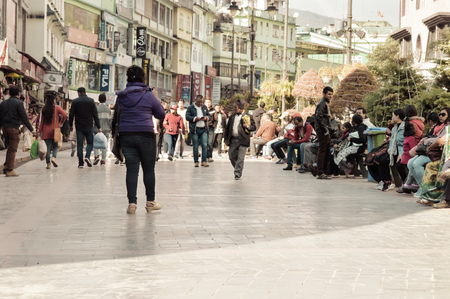MG Marg Gangtok Sikkim India December, 26, 2018: Tourist People relaxing On christmas holiday in the busy MG Marg street. Selective Focus.