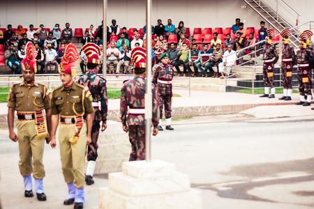 Petrapole-Benapole, Bangaon, 5th Jan, 2019: Joint Retreat of lowering of national flags Ceremony, a military show as Wagah Border with soldiers of Border Guard Security Force of India and Bangladesh. Publikacyjne