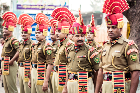 Petrapole-Benapole, Bangaon, West Bengal, 5th Jan, 2019: Joint Retreat Ceremony, military parade show same as Wagah Border, between soldiers of Border Security Force India and Border Guards Bangladesh