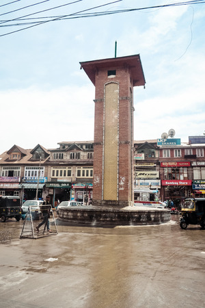 Lal Chowk Clock Tower (Red Square), Srinagar, Jammu - Kashmir, India 14 February 2019 - View of Lal Chowk, famous place for political meetings and most popular commercial shopping center in Srinagar Editorial