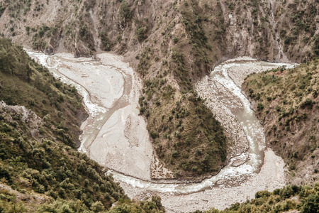 Great Himalayan U shape valley, with steep, straight sides and rounded bottom carved by Ganges river tend to be V shape. Its a natural glaciated valleys formed by glacier travel down a hill slope.