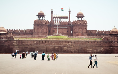 Red Fort Delhi India 1 May 2019 - Famous Red Fort also known as Blessed Fort, Agra Fort or Lāl Qila, made of massive red sandstone walls build by Mughal emperor Shah Jahan is historic palaces in world