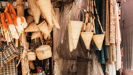 Meghalaya handicrafts art and crafts made with cane and bamboo products. Bamboo Cane work, Stools, Baskets, fishing traps, containers for display in Handloom and Handicraft Market in Meghalaya. Zdjęcie Seryjne