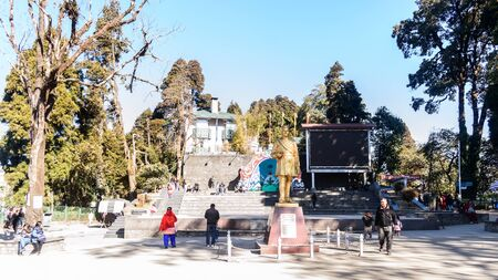 Chowrasta, Darjeeling, West Bengal, India - December 2018: The beautiful Darjeeling Mall in one cold clear winter morning. Statue of the poet Bhanubhakta Acharya is visible. Editorial