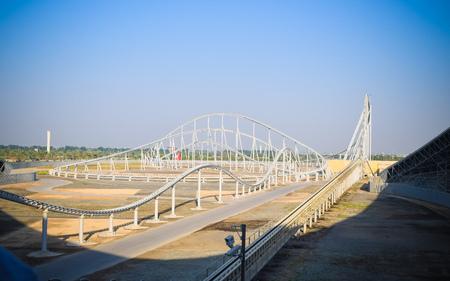 ABU DHABI UAE December 2 2018: Inside view of Formula Rossa, the fastest roller coaster in the world in Ferrari World amusement park at Yas Island - Abu Dhabi UAE. Largest indoor amusement park