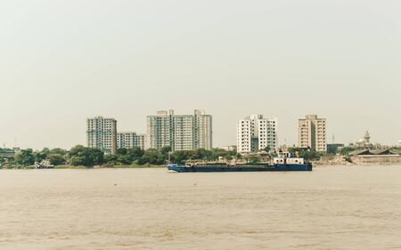 Landscape view of Kolkata (Bengali Kalikata) city capital West Bengal, on east bank Hooghly River (main channel Ganges / Ganga) Bay of Bengal. Calcutta is a city of land, river, water and sea. A dominant urban center of eastern India. Stock fotó