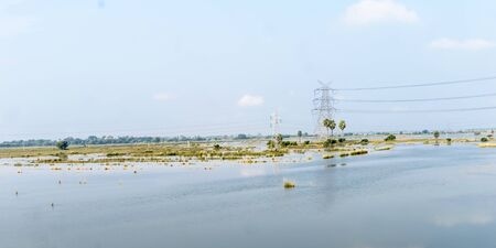 Agricultural land affected by flood. Flooded Food crop Fields. A Natural disaster in Agriculture and farming caused by due to heavy rain as Sea-level water rises. Eastern India, South Asia Pac.