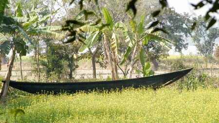 The Old Wooden Canal Boat near saltwater water canal of Ganges river delta in the beautiful mangrove forest of Sundarban West Bengal India South Asia Pac. Banco de Imagens