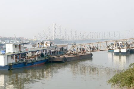 Passenger ferry service station by West Bengal Surface Transport Corporation (WBSTC) on Hooghly river bank Shipping Corporation Ghat. A public water transportation of Kolkata India Asia Pac May 2019. Sajtókép