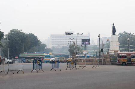 Empty U-Turn crossing area near Babughat or Baje Kadamtala Ghat intersection on Strand Road side on Sunday Holiday. The place remains crowded in a working day with various modes of transport like, bus, taxi cars. It is an important transit junction point